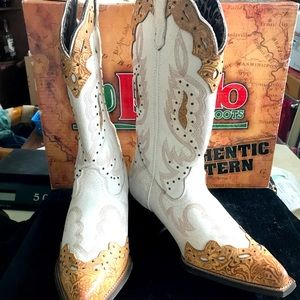 Women's Laredo White Leather Cowboy Boots 10